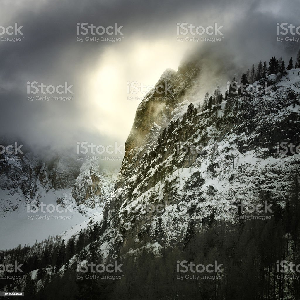 Atmospheric mountains in the Dolomites. stock photo