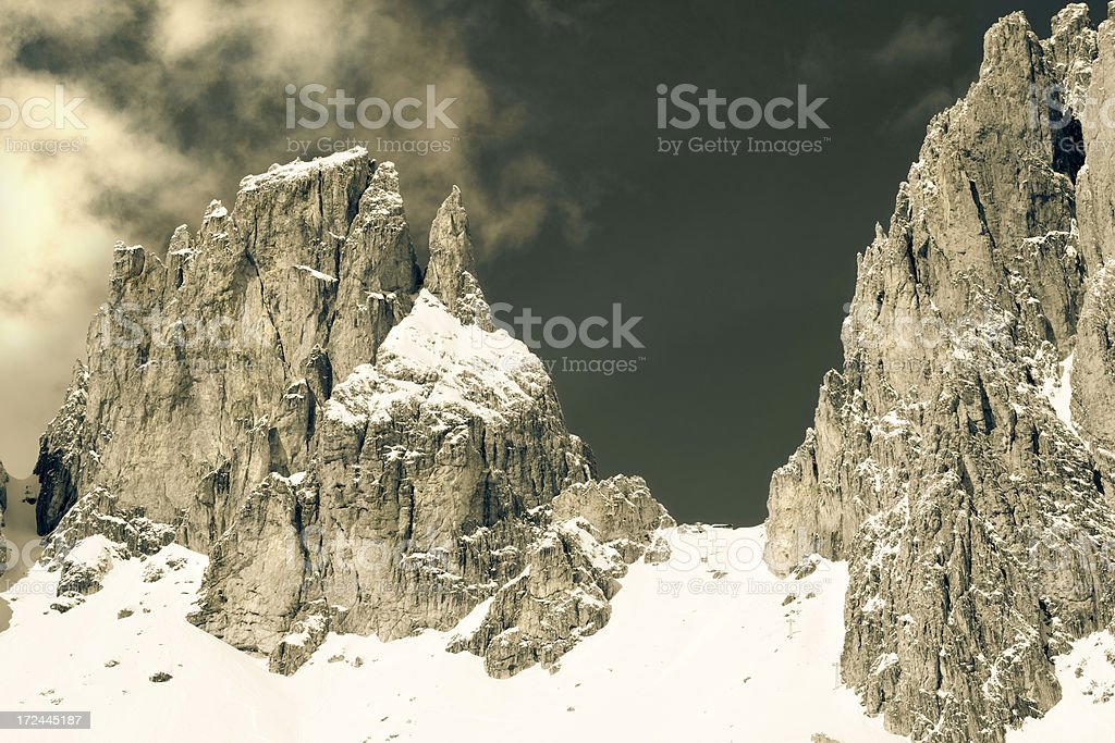 Atmospheric mountains in the Dolomites. royalty-free stock photo