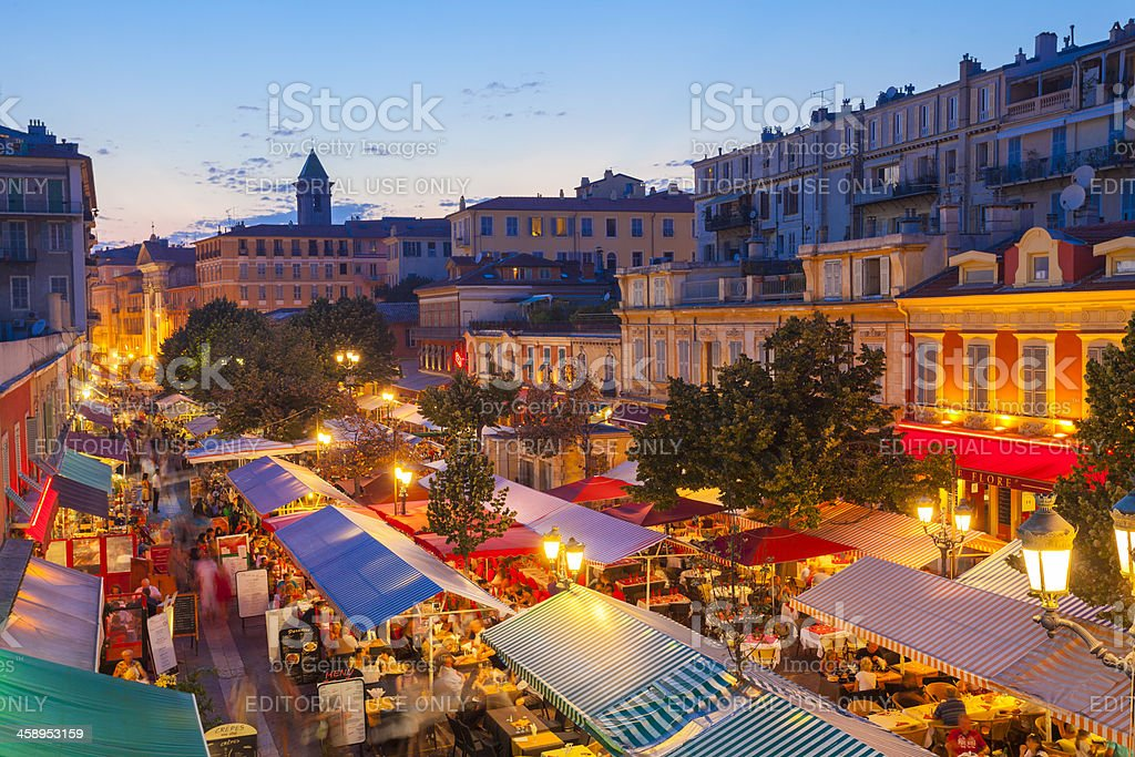Atmospheric night in Nice, France royalty-free stock photo