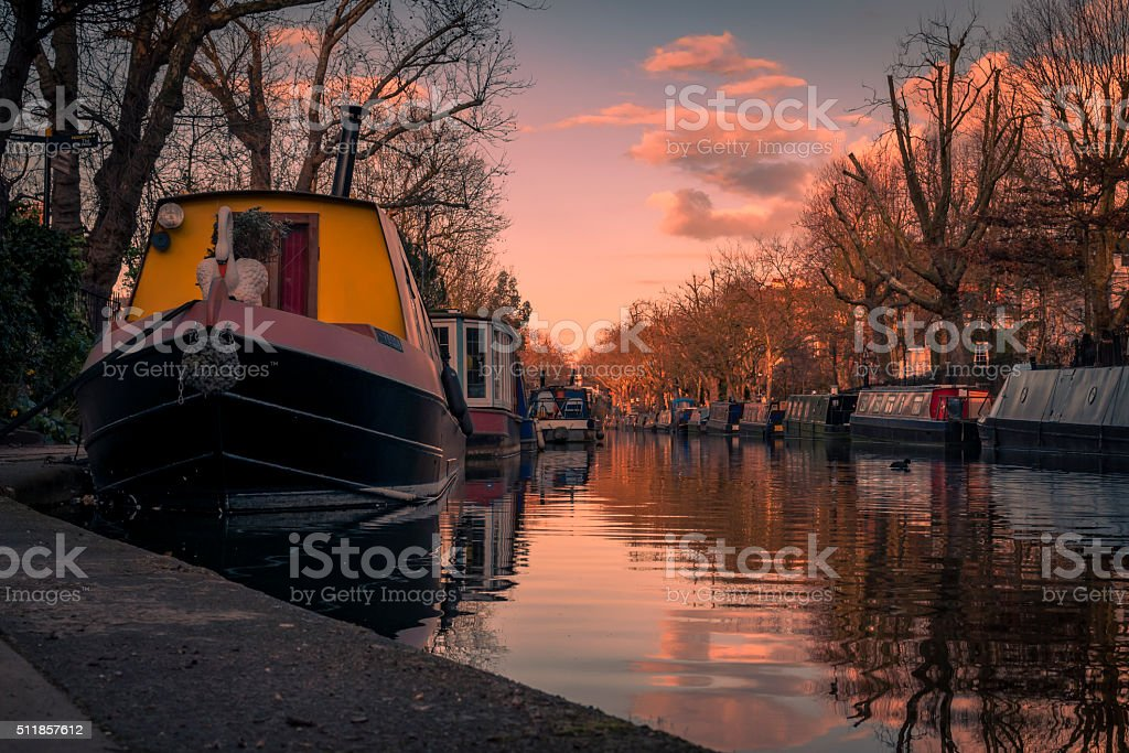 Atmospheric shot of Little Venice in Regent's Canal, London stock photo