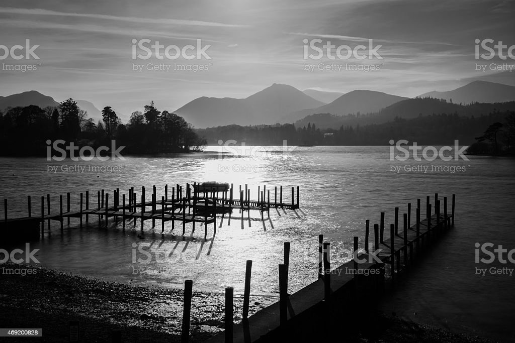 Atmospheric Sunset At Derwentwater In The Lake District. stock photo