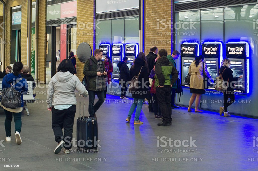 ATMs at Kings Cross rail station stock photo