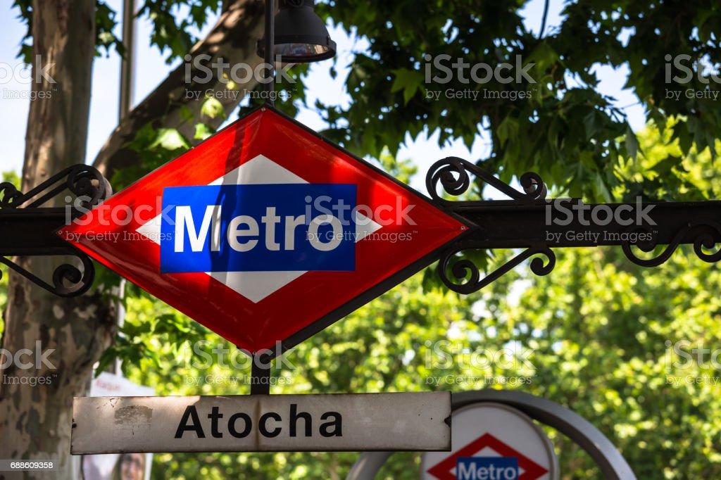 Atocha Metro Station Sign in Madrid Spain stock photo