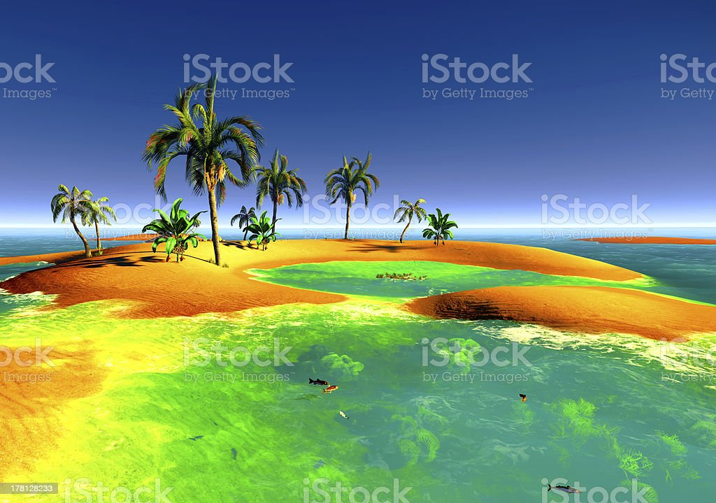 Atoll in the paciffic ocean stock photo