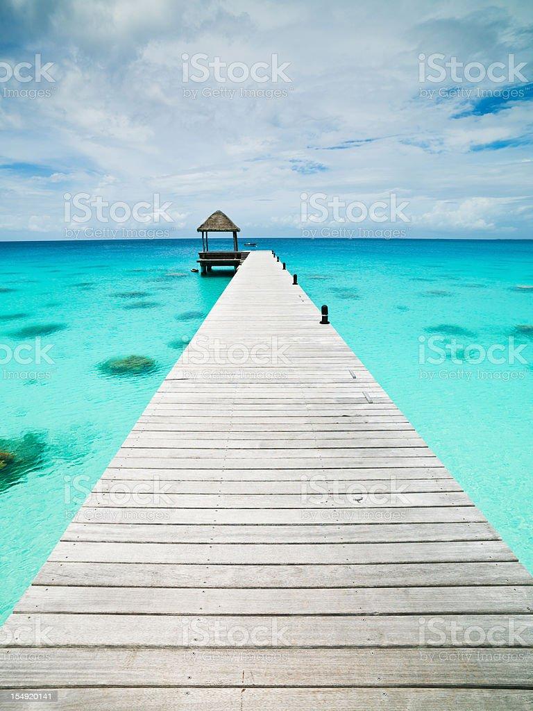 Atoll Jetty Turquoise Waters Tuamotu Archipelago Fakarava French Polynesia stock photo