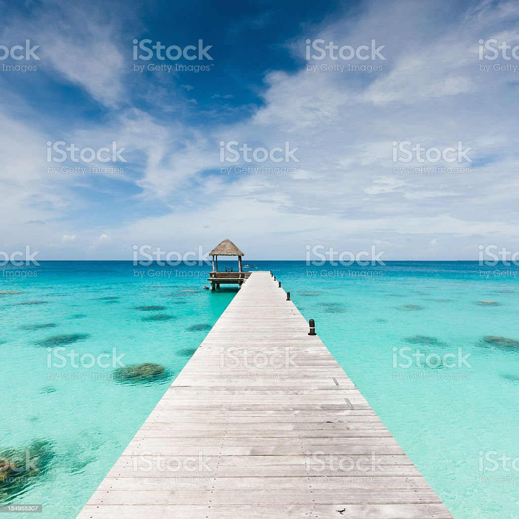 Atoll Jetty Wooden Pier Fakarava French Polynesia Beach Holidays royalty-free stock photo