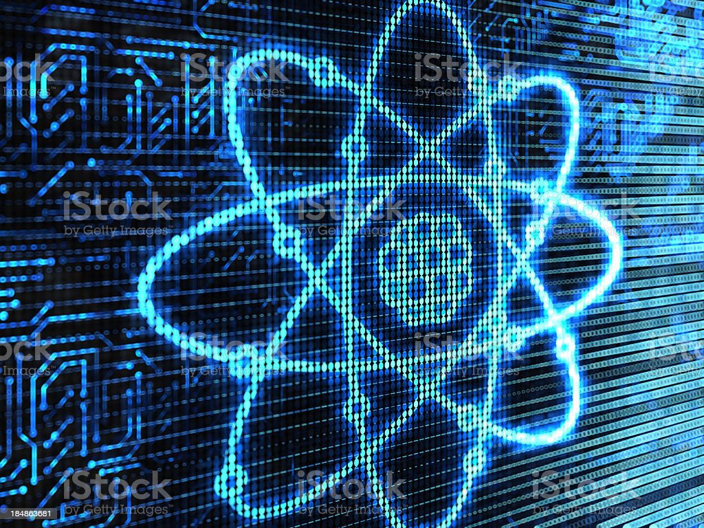 Atom background in blue with nucleus core royalty-free stock photo
