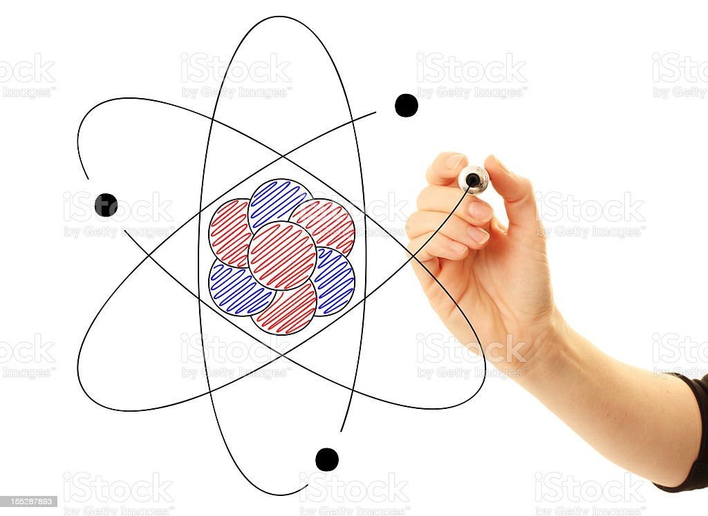 Atom drawn by scientist or student stock photo