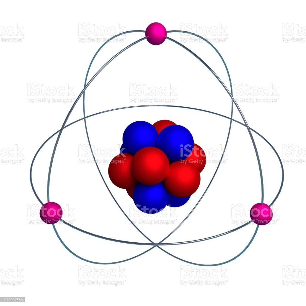 Atom model with proton, neutron and electron isolated on white stock photo