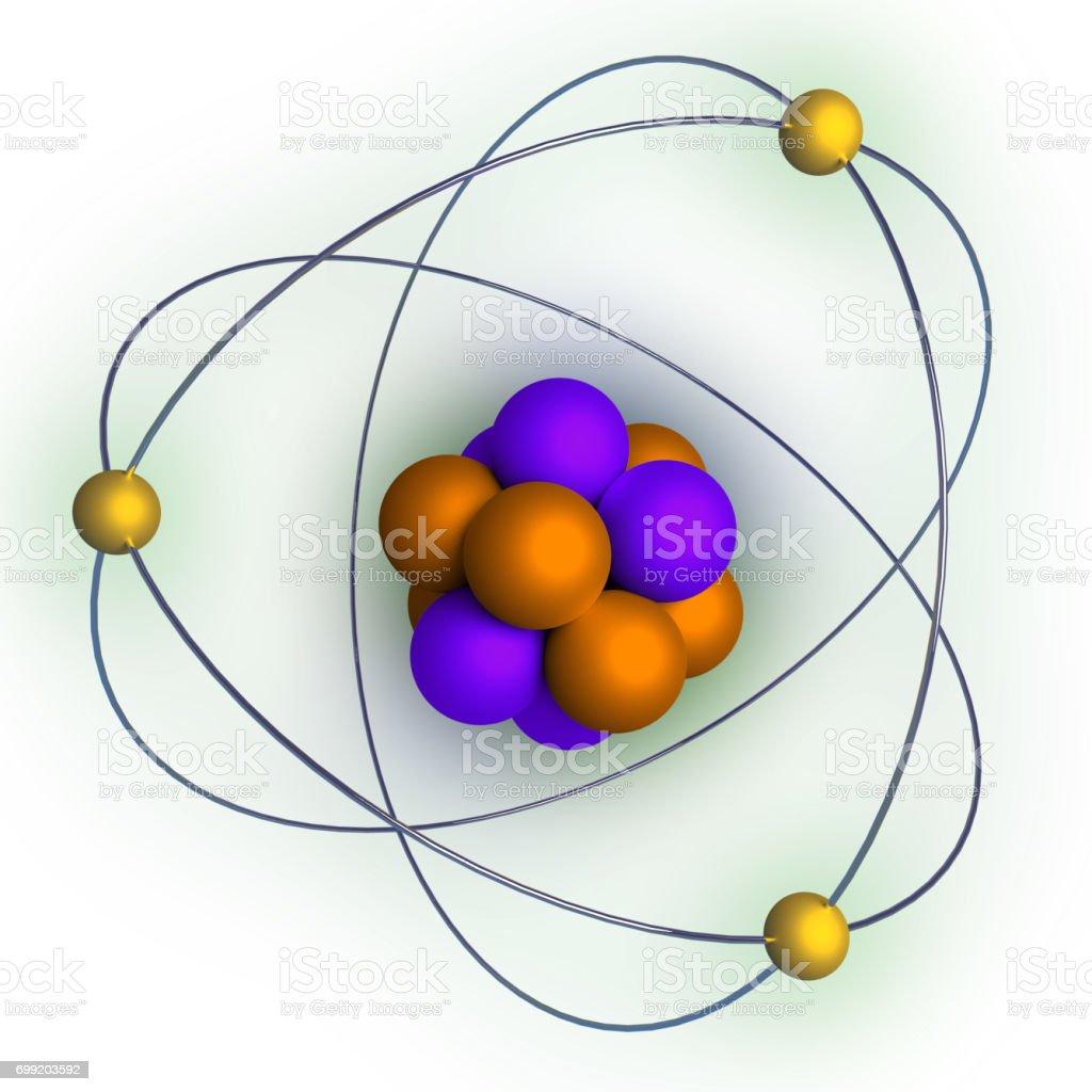 atom model with radiation over white stock photo