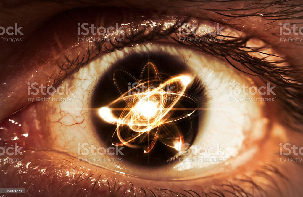Atom Particle Eyes stock photo