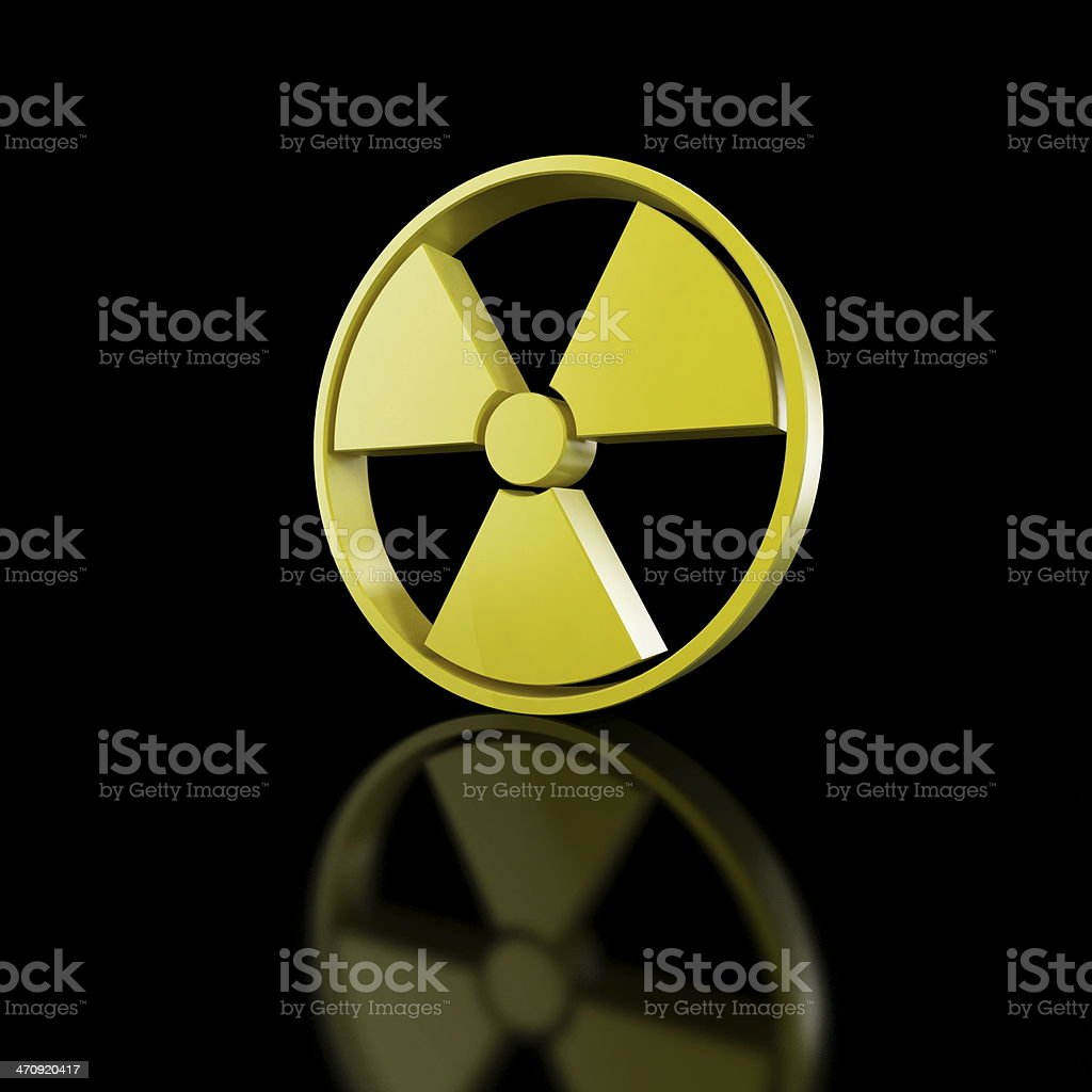 atom symbol on black background stock photo