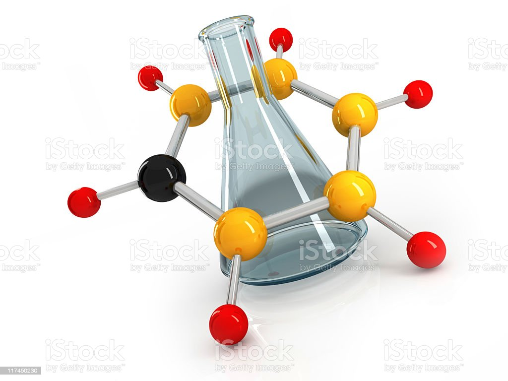 atom with flask royalty-free stock photo