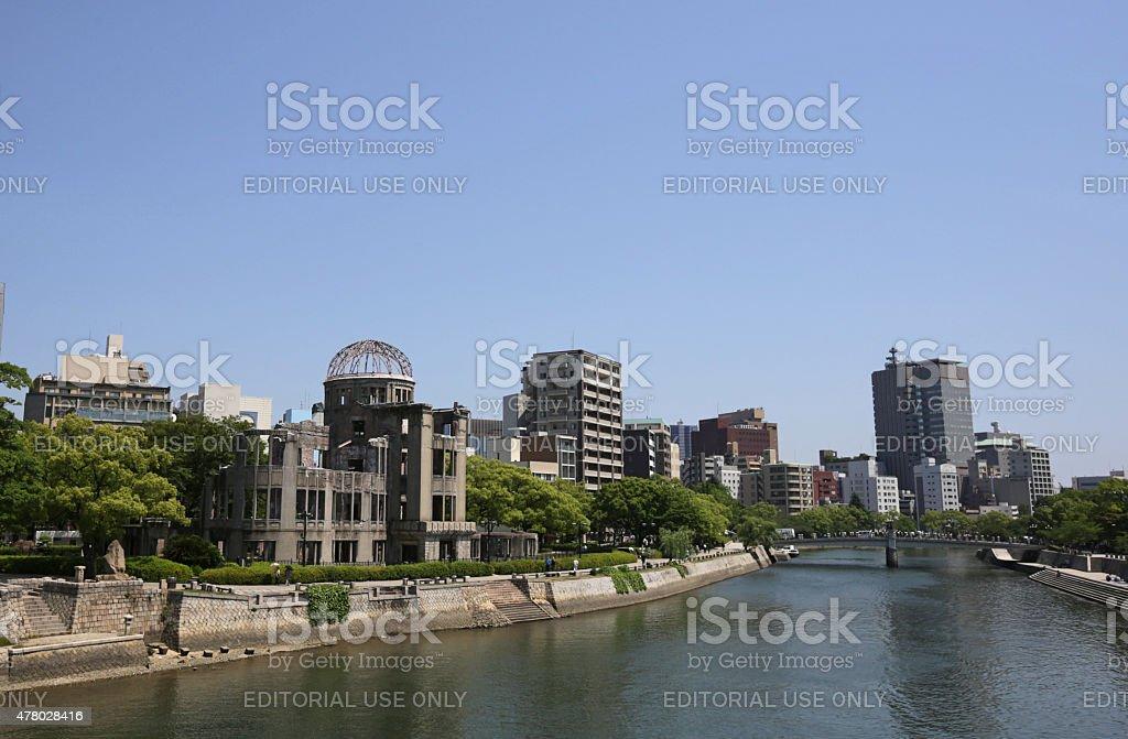 Atomic Bomb Dome Building by the Motoyasu River, Hiroshima, Japan stock photo