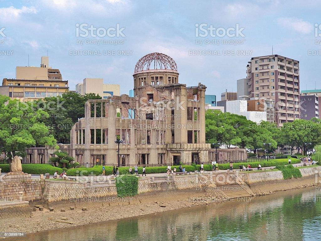 Atomic Bomb Dome in Hiroshima, Japan. stock photo