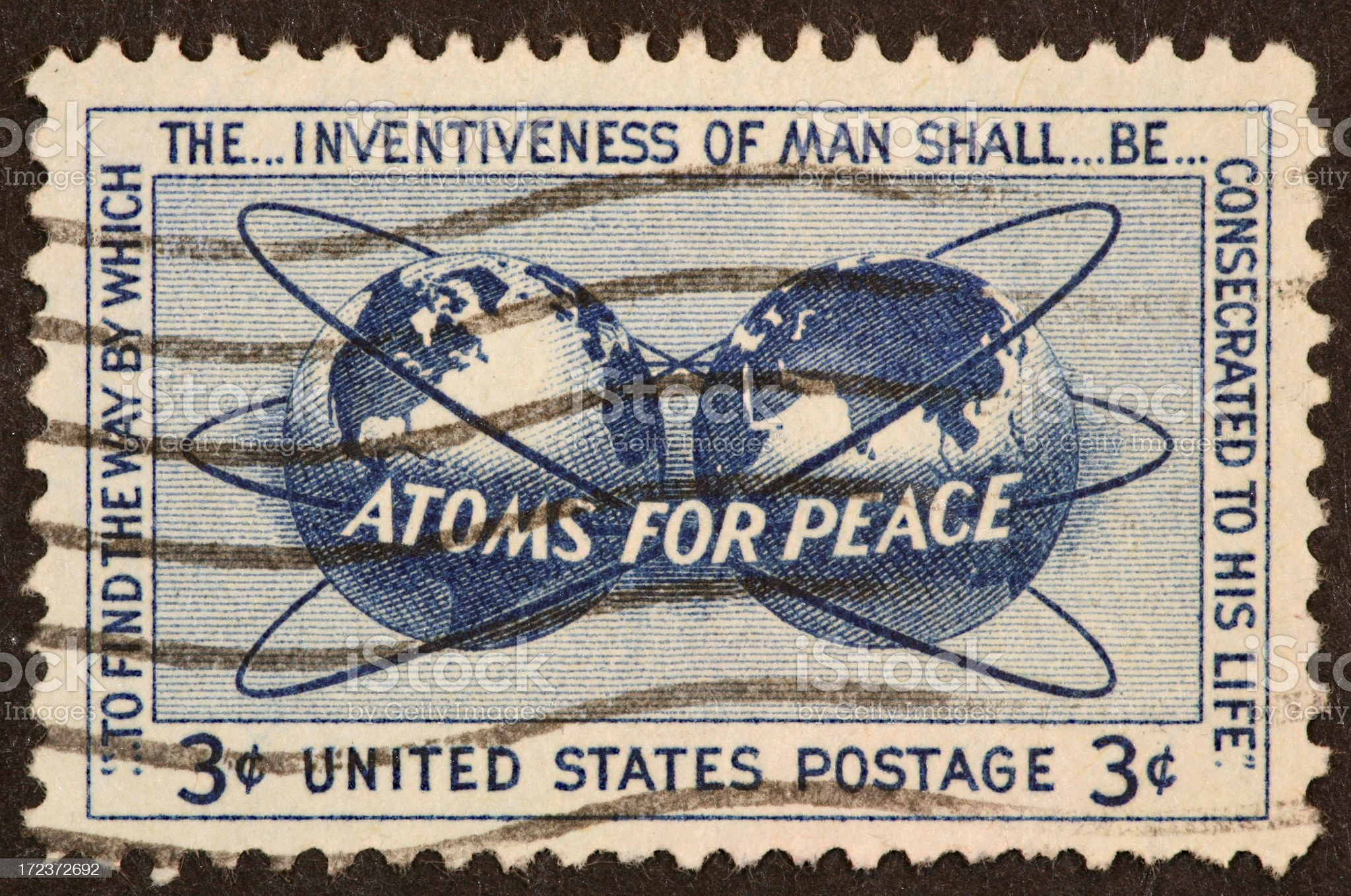 Atomic energy stamp royalty-free stock photo