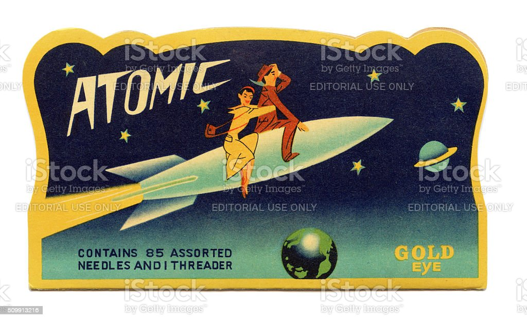 Atomic sewing needle packet stock photo