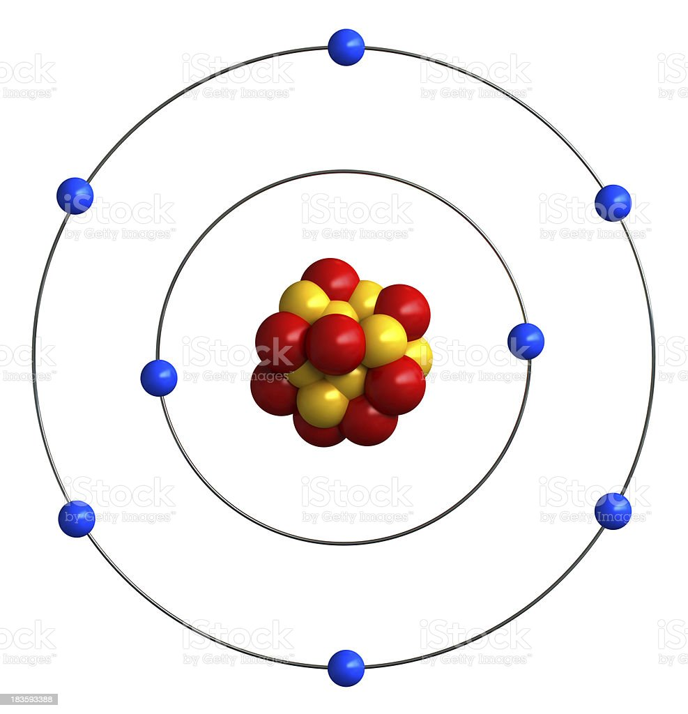 Atomic structure of oxygen royalty-free stock photo