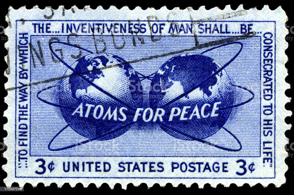 Atoms for Peace Postage Stamp royalty-free stock photo