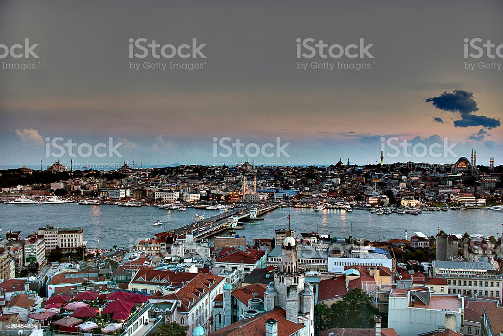 Atop the Galata in Istanbul stock photo