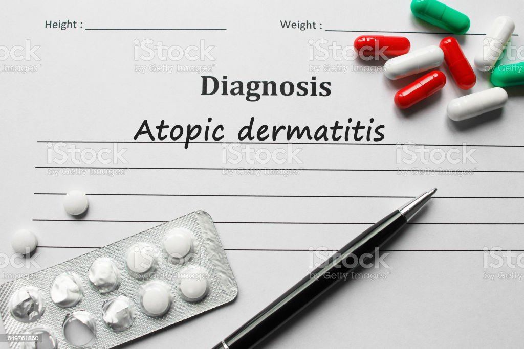 Atopic Dermatitis on the diagnosis list, medical concept stock photo