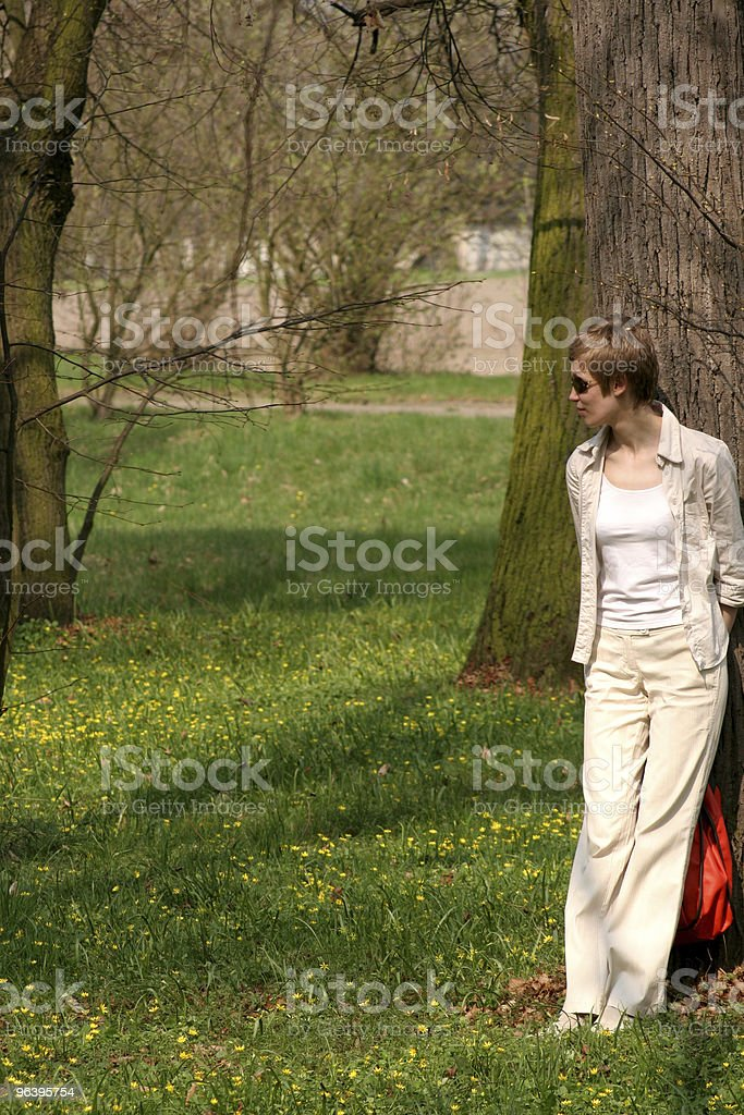atractive woman game - hide or seek royalty-free stock photo