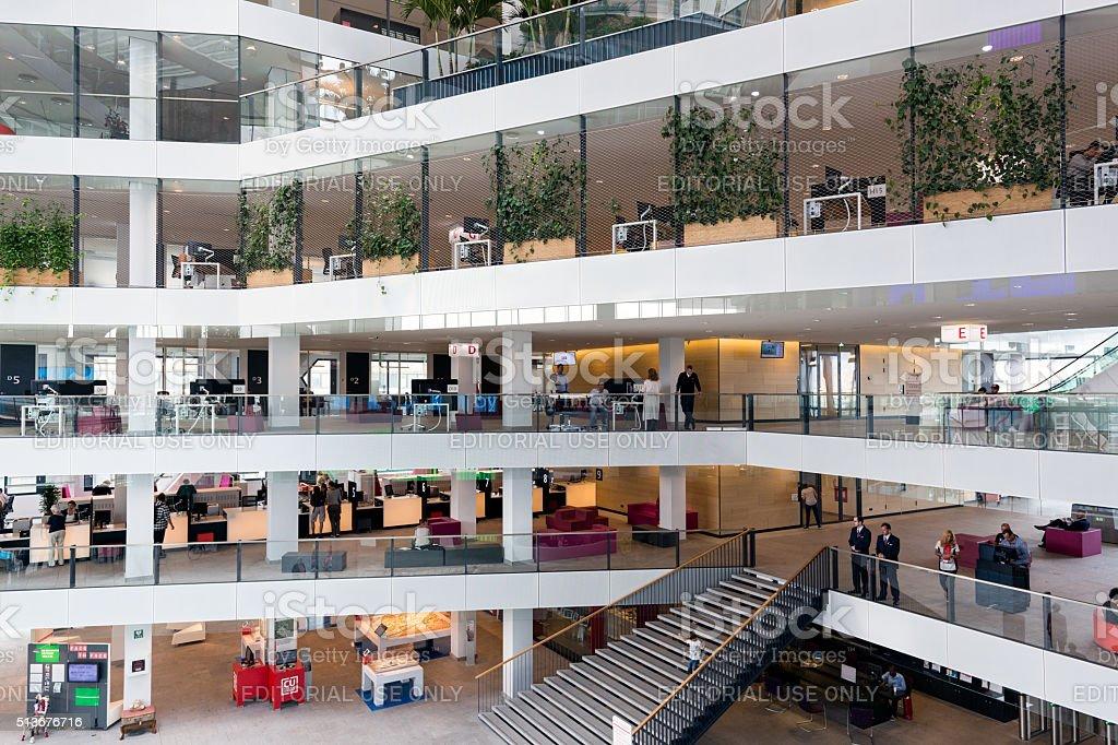 Atrium Dutch city hall Utrecht with people visting the building stock photo