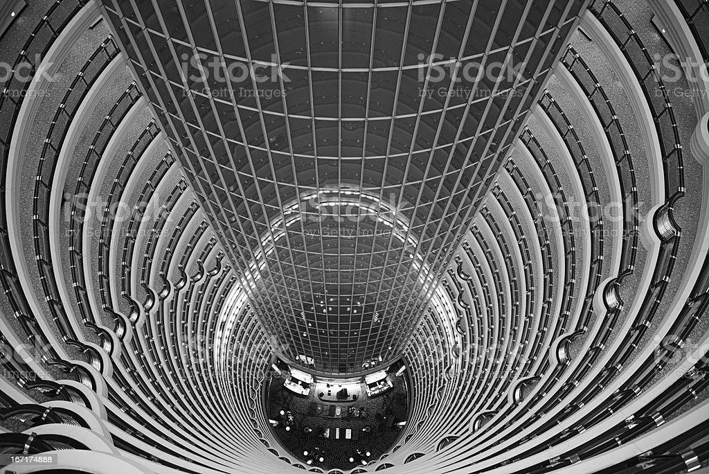 Atrium inside Jin Mao Tower, Shanghai, China stock photo