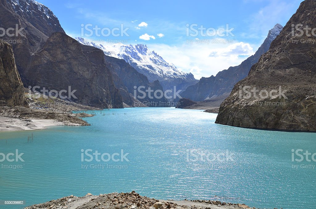 Attabad lake in Gojal valley,northern Pakistan stock photo