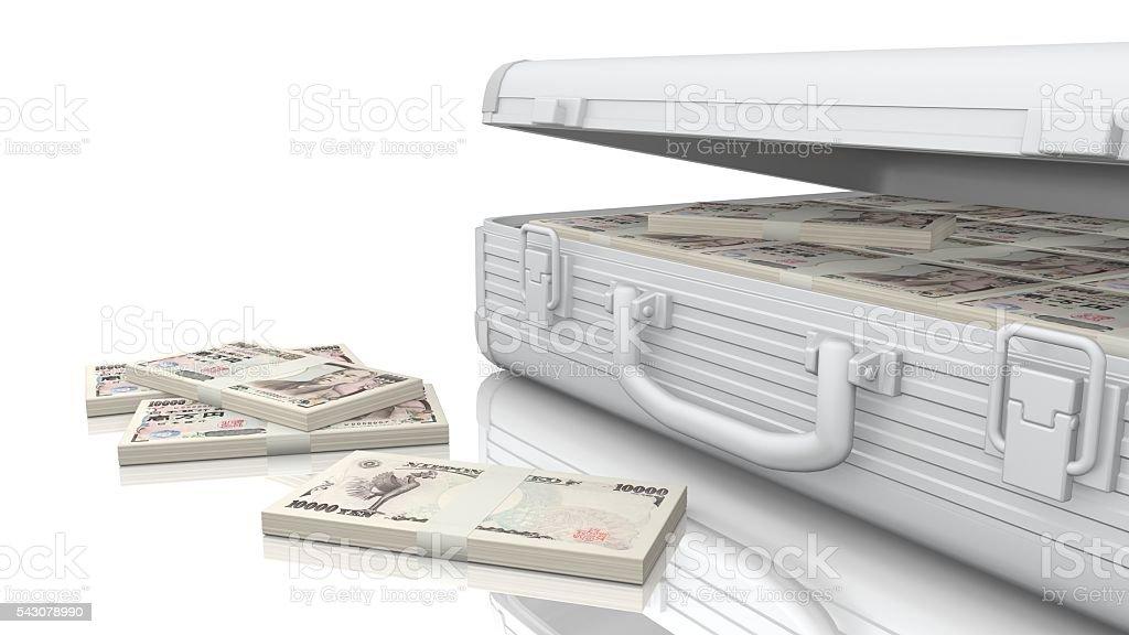 Attache Case, money, Japanese yen stock photo