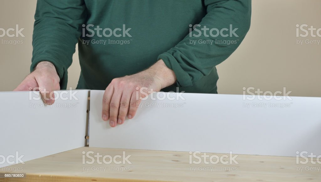 Attaching Drawer Parts stock photo