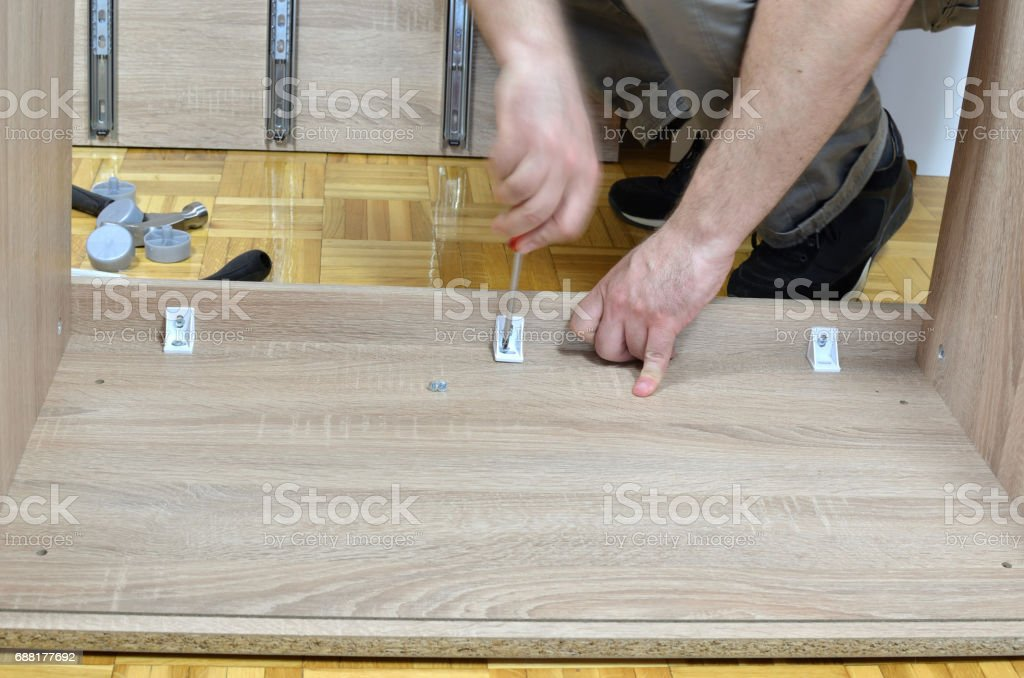 Attaching Elements of a Furniture stock photo