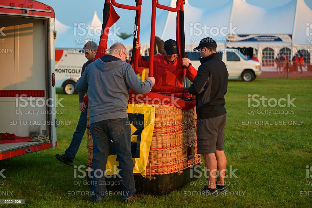 Attaching  the envelope to the basket stock photo