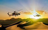 Attack Helicopters in flight