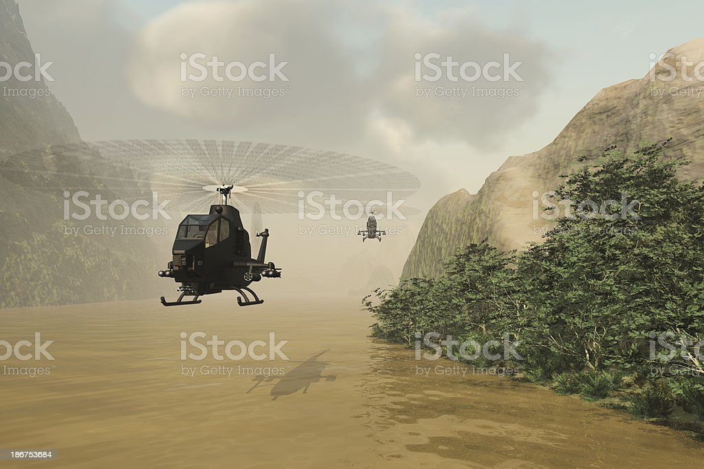 Attack helicopters on covert mission royalty-free stock photo