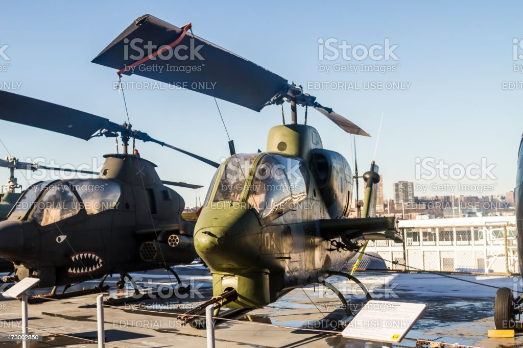 Attack helicopters on USS Intrepid stock photo