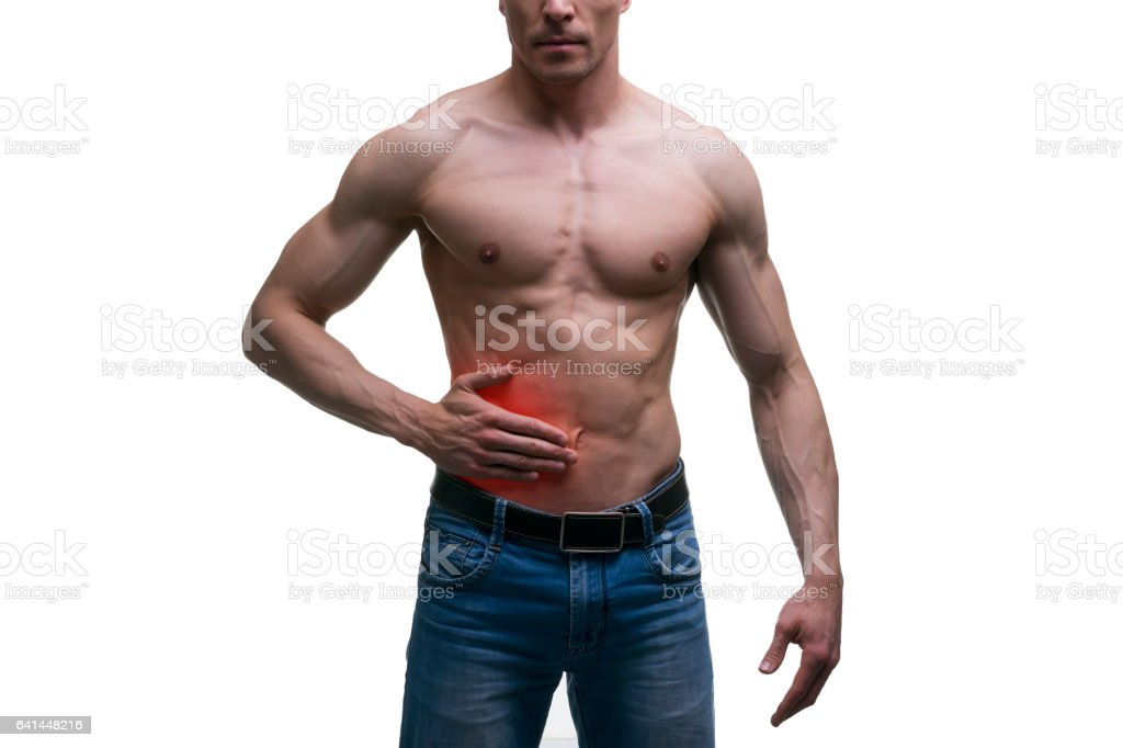 Attack of appendicitis, pain in right side of male body stock photo