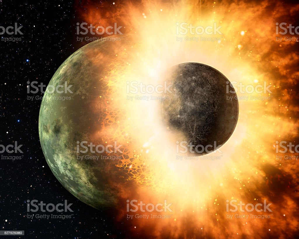 Attack of the asteroid on the planet Earth 3d rendering. stock photo