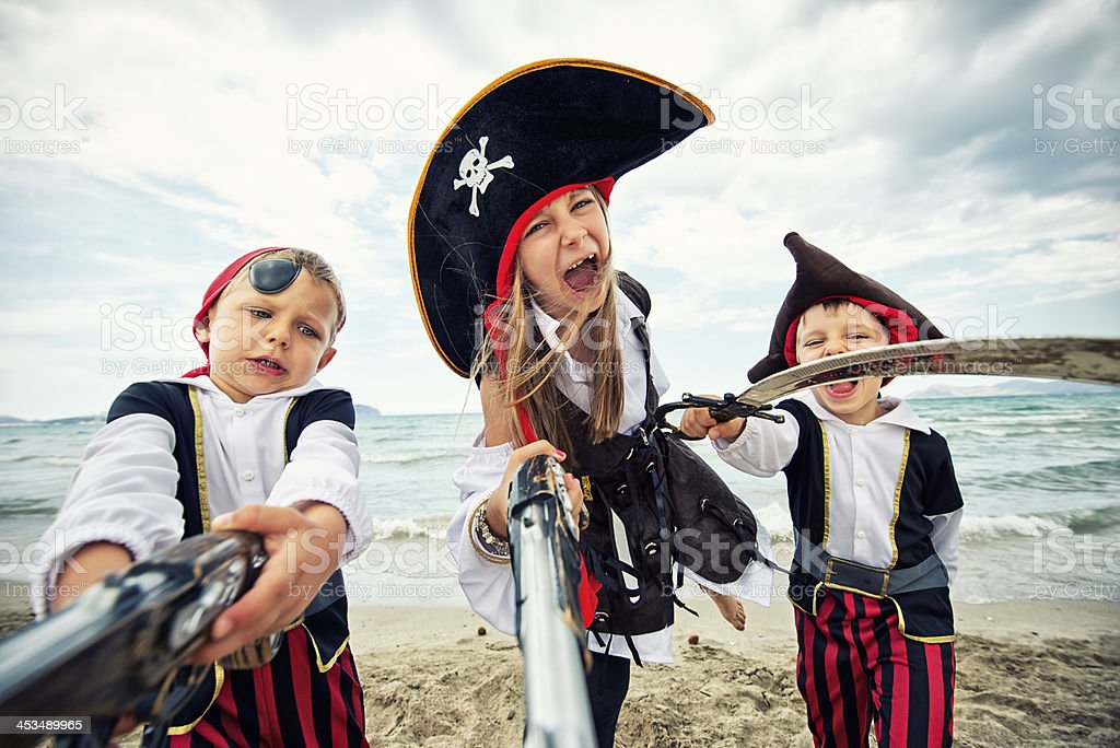 Attack of the crazy little pirates royalty-free stock photo