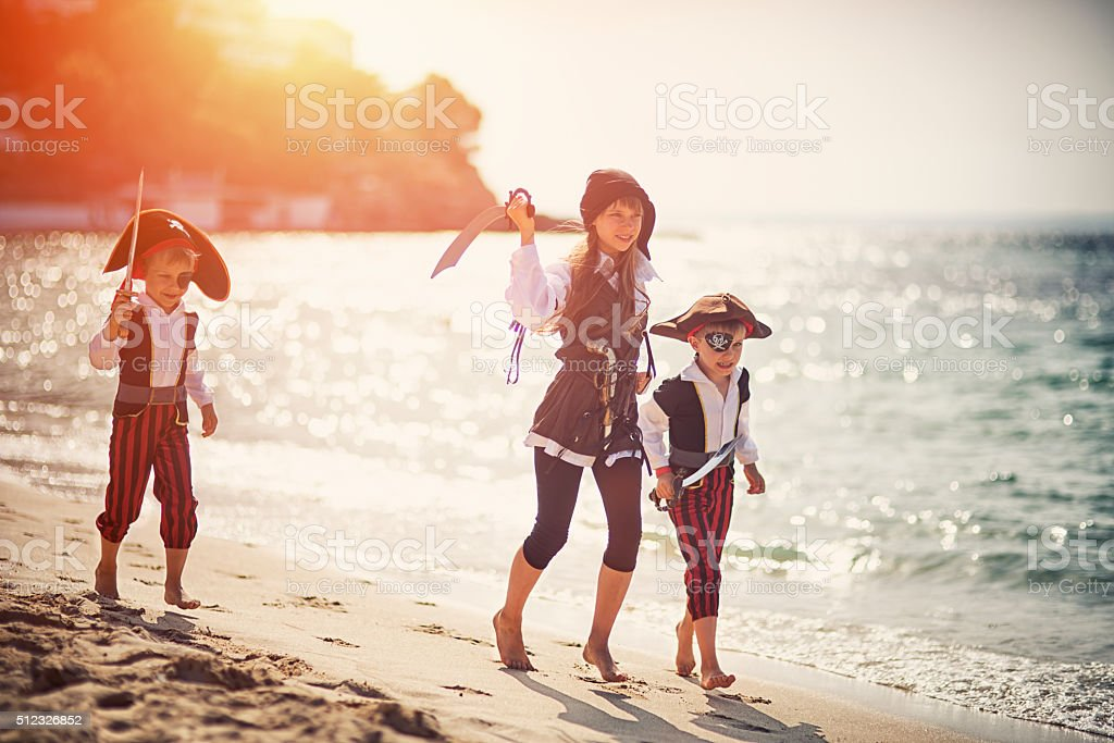 Attack of the fearsome little pirates stock photo
