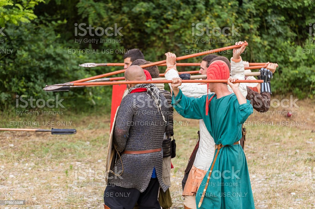 Attack with a spear stock photo