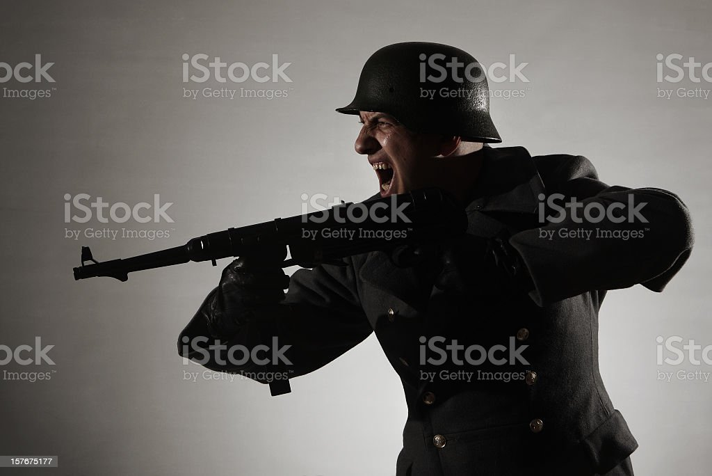 attacking german soldier stock photo