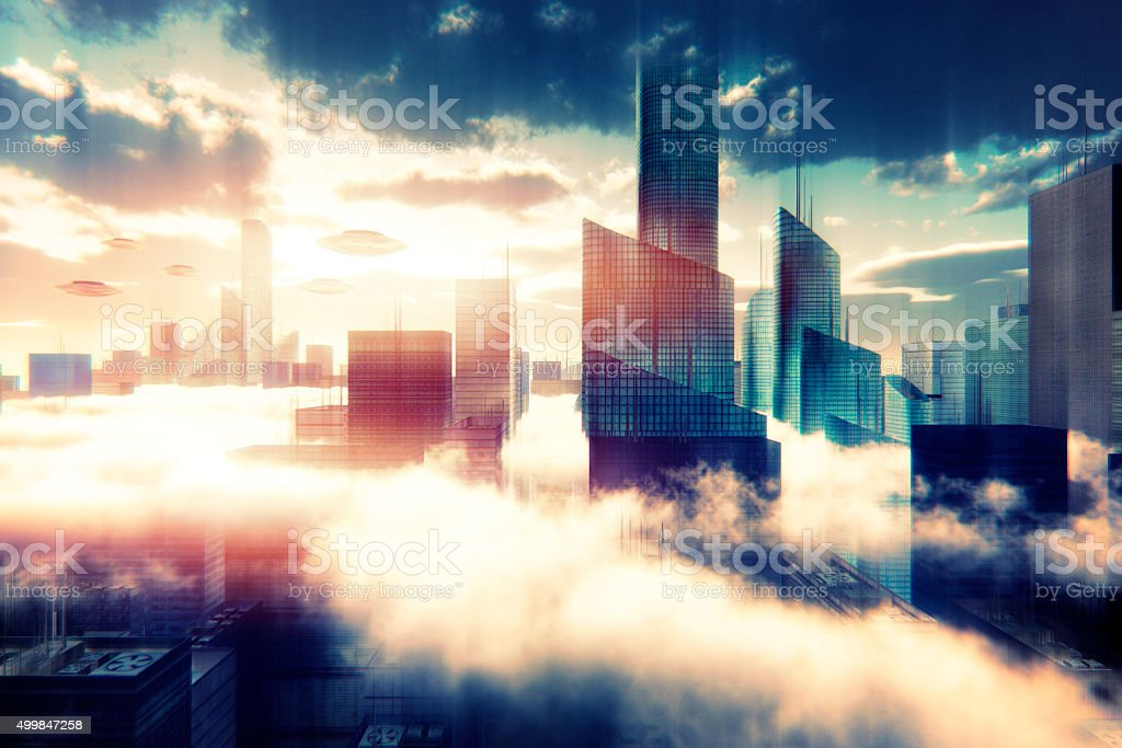 UFO attacking over cityscape at sunset stock photo