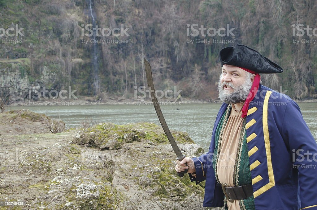 Attacking Pirate Captain stock photo
