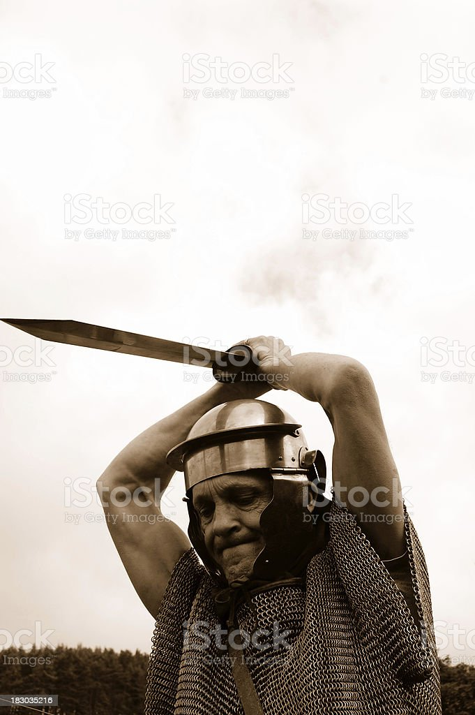 Attacking Roman Soldier. stock photo