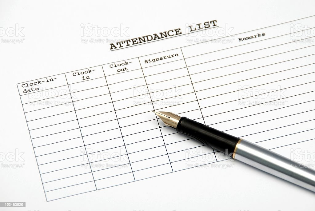 attendance list stock photo