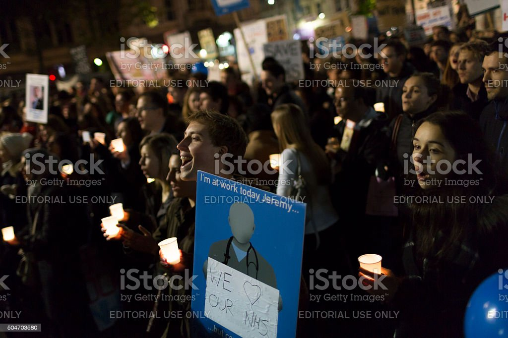 Attendants at a protest against changes to junior doctor contracts stock photo