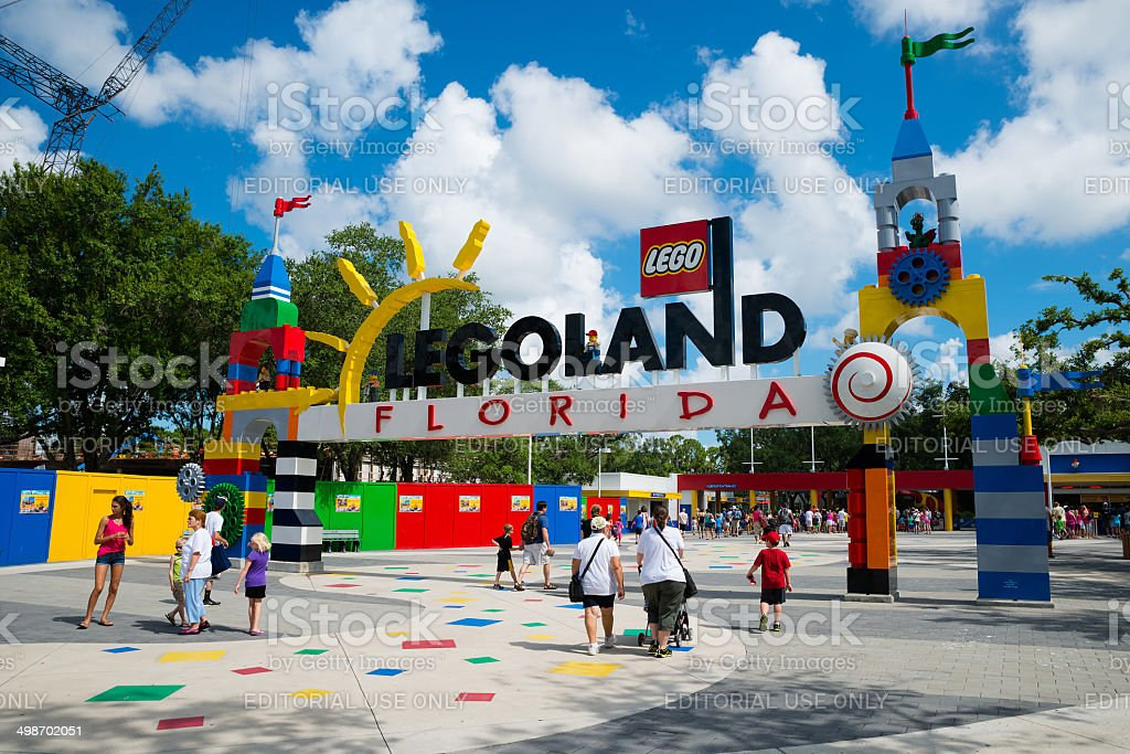 Attendees enter main entrance at Legoland Florida stock photo