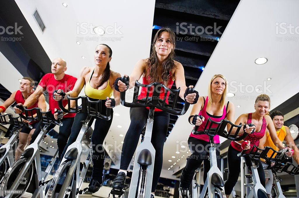 Attending Spinning Class royalty-free stock photo