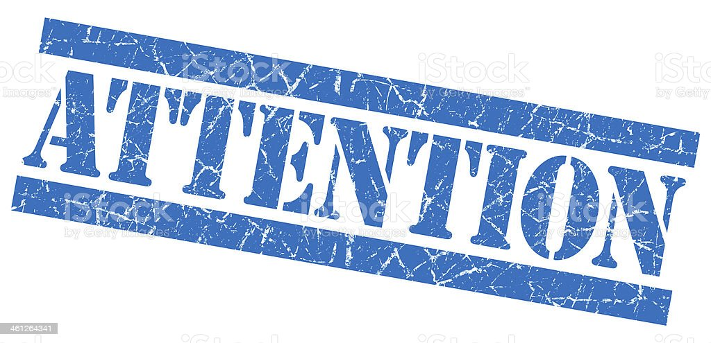 Attention grunge blue stamp stock photo